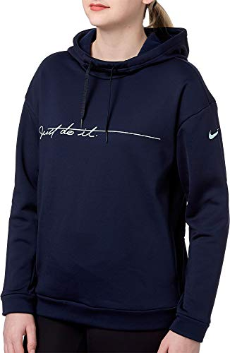 NIKE Women's Therma Fleece Graphic Training Hoodie (Obsidianheather, Large)