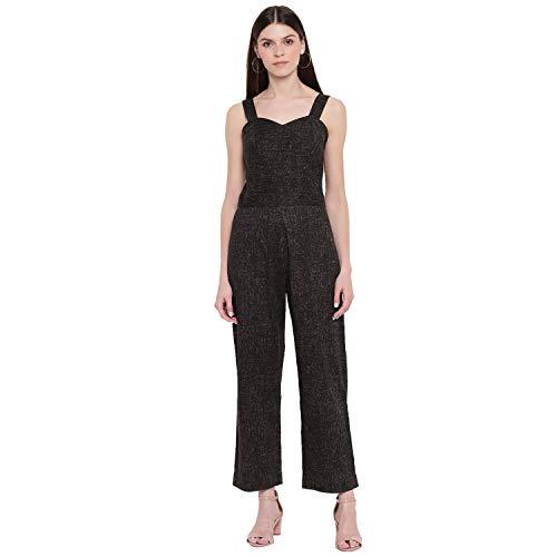 sandy AND ritz Women's Black Printed Sleeveless Cotton Jumpsuit