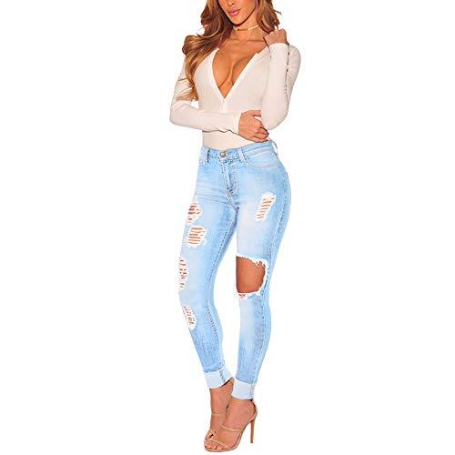 FIRERO Women High Waist Stretch Hose Zipper Fly Jeans Leggings Skinny Slim Hollow Pants Trousers