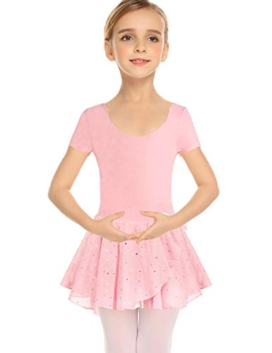 Arshiner Girls Sequined Camisole Ballet Dance Leoatards Dress with Spark Tutu Skirt