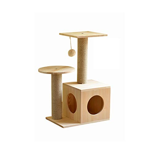 Natural 30cm45cm70cm Natural 30cm45cm70cm Siler Cat Tree, Small Wooden Cat Climbing Frame with Cat House Cat Tower Activity Center Cat Scratch Board SL-016 (color   Natural, Size   30cm45cm70cm)