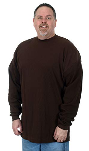 Novelty Knit Shirt - Men's Long Sleeve Waffle Knit T- Shirt a Plain Sweatshirt in Solid Brown