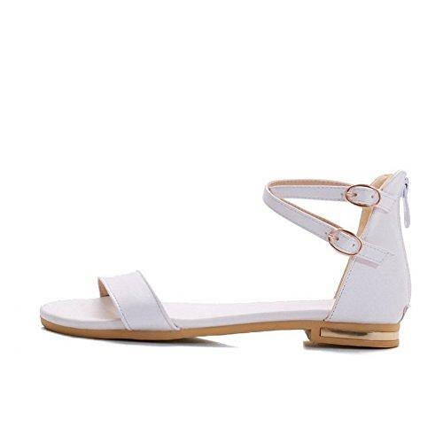 Odomolor Mujeres Pu Sólido Cremallera Puntera Abierta Mini Tacón Sandalias de vestir Blanco