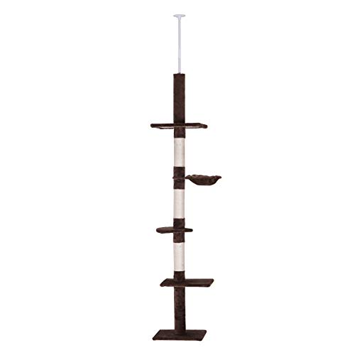 PawHut 9' Adjustable Height Floor-to-Ceiling Vertical Cat Tree - Brown and White