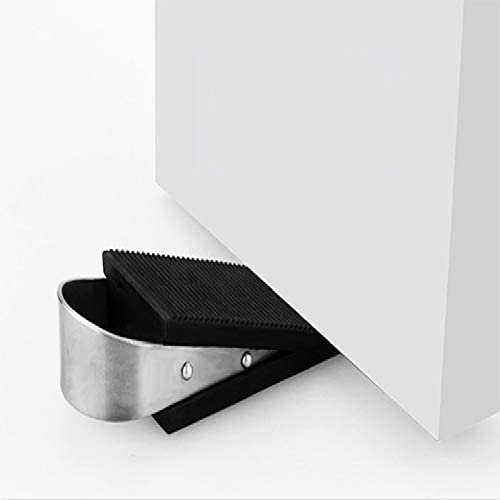 2Pcs Door Stopper,Door Stop Wedge Made of Stainless Steel and Rubber,Black
