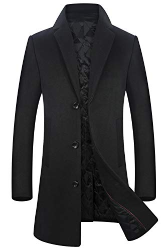 Men's Jacket 50% Wool Classic Single Breasted Coat Thickened Trench Coat 1821 Black XXL -