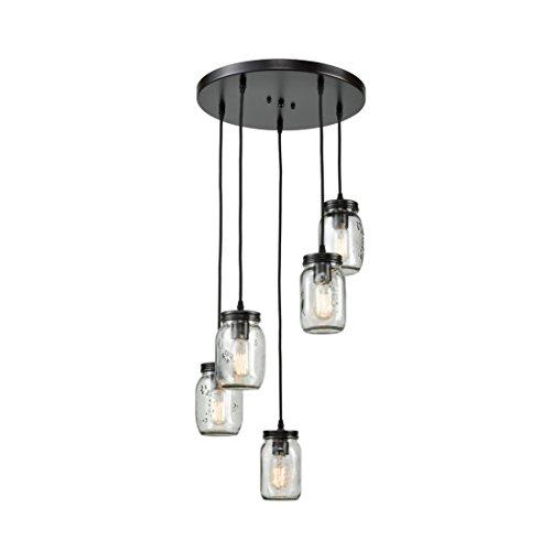 EUL Mason Jar Kitchen Island Lighting 5-Light Glass Jar Chandelier Pendant Lighting Fixture Oil Rubbed Bronze
