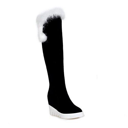 VogueZone009 Damen Reißverschluss Hoher Absatz Überknie Hohe Stiefel Stiefel Weiß