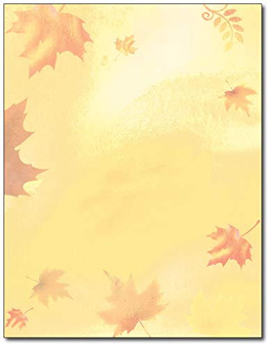 Golden Fall Leaves Stationery - 80 Sheets - Great for Fall, Halloween, or Thanksgiving Events -