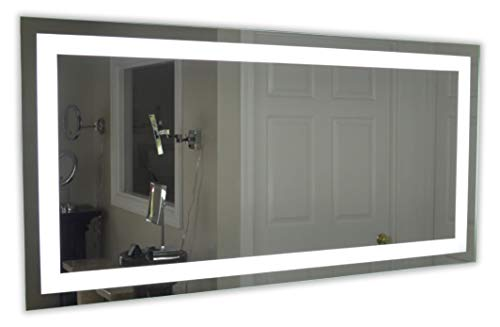 "Modern Bathroom Vanity Led Light Crystal Front Mirror: LED Front-Lighted Bathroom Vanity Mirror: 60"" Wide X 36"
