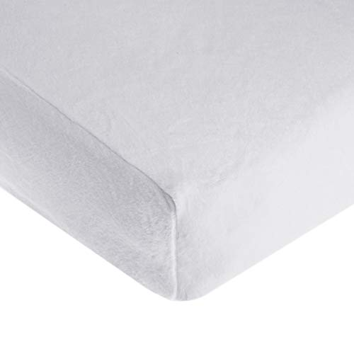 TL Care Heavenly Soft Chenille Fitted Crib Sheet for Standard Crib and Toddler Mattresses, White, 28 x 52, for Boys and Girls