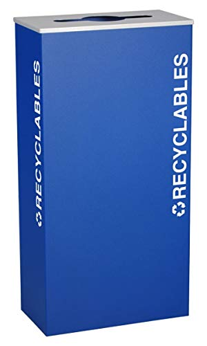 Ex-Cell Kaiser RC-KD17-R RYX Kaleidoscope XL Series Rectangular Steel Indoor Recyclables Receptacle with Textured EXL-Coat Powder Coat Finish, 17 Gallon Capacity, 9-1/2