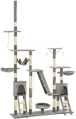 vidaXL Rascador para Gatos con Poste Sisal 230-250cm Gris Accesorios Mascotas