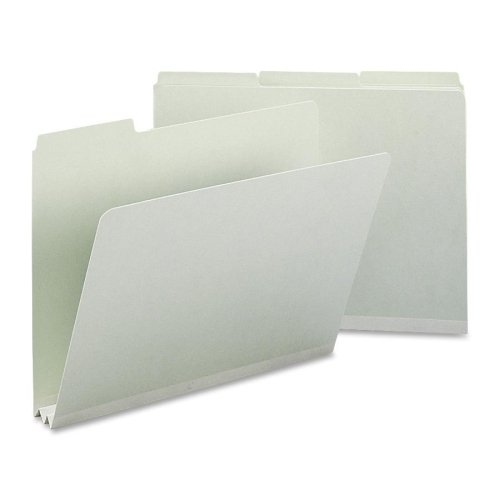Wholesale CASE of 5 - Smead 1/3 Cut Pressboard Top Tab Folders-Pressboard Folders,1/3 Tab Cut,2'' Exp,Ltr,25/BX,Gray Green