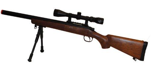 WELL VSR-10 BOLT ACTION TACTICAL AIRSOFT SNIPER RIFLE W/ BI-POD & 3-9X40MM SCOPE (Wood Sniper Rifle)