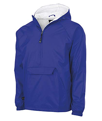 Blue Lined Jacket - Charles River Apparel Wind & Water-Resistant Pullover Rain Jacket (Reg/Ext Sizes), Royal, S