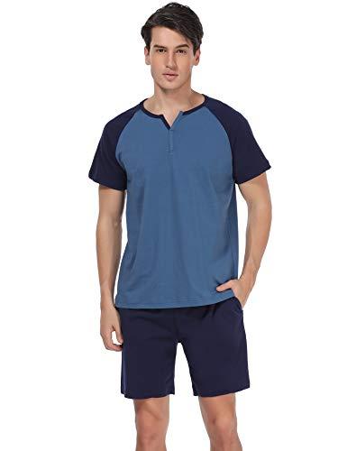 - Aiboria Mens Pajamas Shorts Set Summer Sleepwear Cotton Short Sleeve Longue PJ Set,S-XXL