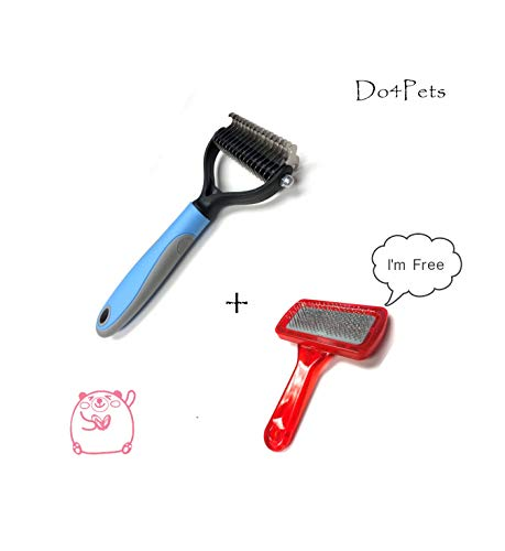 Do4Pets Pet Massage Grooming Tool - 2 Sided Undercoat Rake for Cats & Dogs - Safe Dematting Comb for Easy Mats & Tangles Removing - No More Nasty Shedding and Flying Hair(with A Free Slicker Brush
