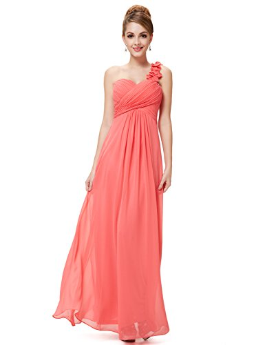 Ever-Pretty Womens Empire Waist Ruched Floor Length Bridesmaids Dress 6 US Coral Bill Levkoff Junior Bridesmaid Dresses