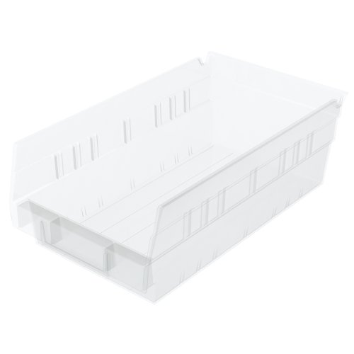 12 Hopper Bins - Akro-Mils 30130 12-Inch by 6-Inch by 4-Inch Clear Plastic Nesting Shelf Bin Box, 12-Pack