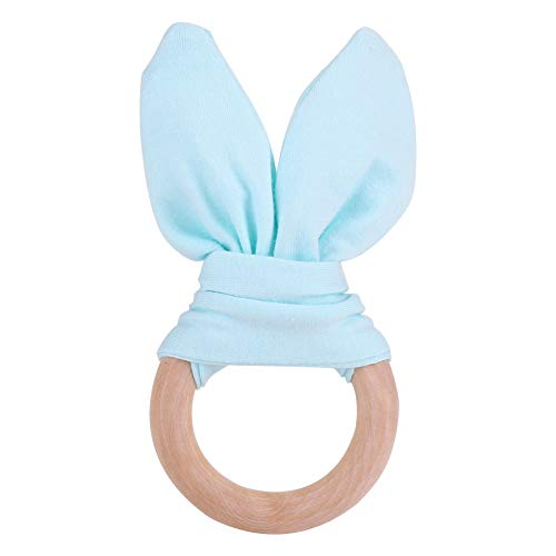Baby Infant Natural Wooden Teether Organic Teething Ring Adorable Rabbit Ears Nursing Soothing Toy for Baby Gift(Mint Green)
