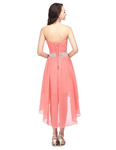 Dunkelrosa CSD400 Abschlusskleider Chiffon Abendkleid Bandeau Clearbridal Cocktailkleid Asymmetrisch Ballkleid Damen SHgPqz