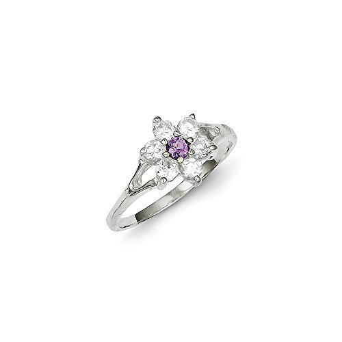 925 Sterling Silver Purple Amethyst Cubic Zirconia Cz Band Ring Size 7.00 Stone Flowers/leaf Gemstone Fine Jewelry Gifts For Women For Her