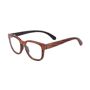 SHINU Horn Rimmed Wood Eyeglasses Frames Clear Lens Wooden Glasses-F138(red sandalwood&walnut)