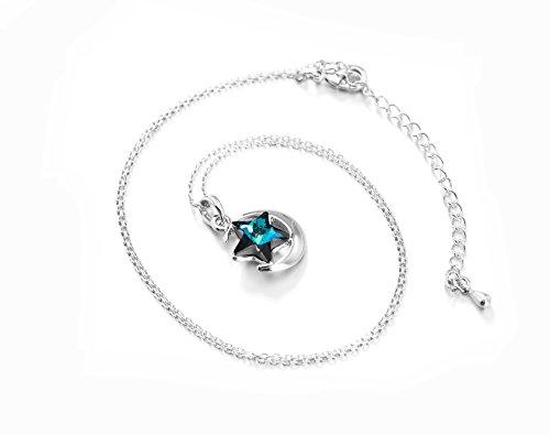 Collier Femme avec pendentif Bleu étoile - Cristal Autrichien Swarovski - Plaqué platine - 18 inches.