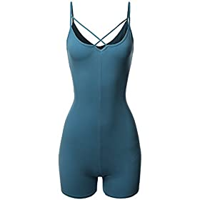 Made By Emma Front Cross Strap Cami Jersey Cotton Spandex Bodysuit Blue S
