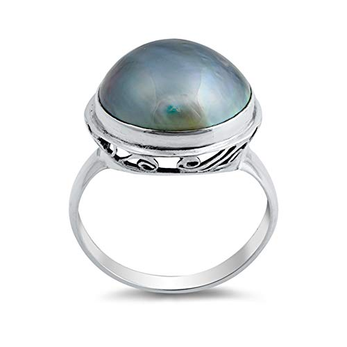 Simulated Pearl Round Oxidized Swirl Ring .925 Sterling Silver Band Size 8
