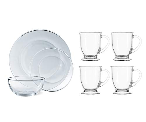 - Mainstays 12-Piece Round Clear Glass Dinnerware Set bundle with Anchor Hocking 4-Piece Cafe Mug Set in Clear.