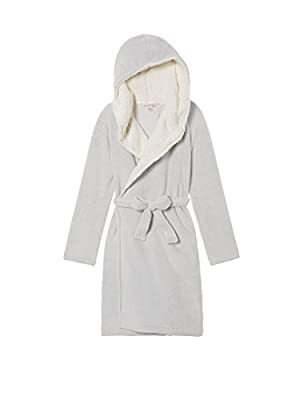 Victoria's Secret Cozy Hooded Short Sherpa Lined Robe So Silver Grey M/L