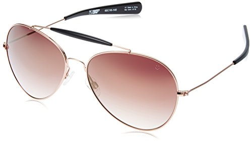 (Spy Optic Unisex Presidio Happy Lens Collection Sunglasses, Rose Gold with Black/Merlot Fade with Gold Mirror, One Size Fits All)