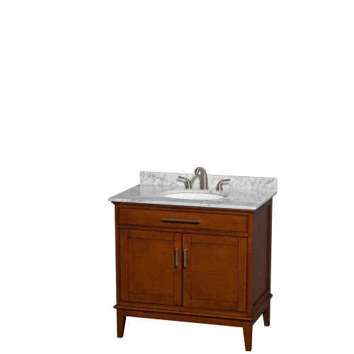 UPC 700253900132, Wyndham Collection Hatton 36 inch Single Bathroom Vanity in Light Chestnut, White Carrera Marble Countertop, Undermount Oval Sink, and No Mirror