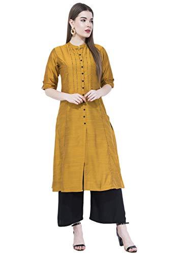 - Lagi Women Designer Straight A-Line Kurta Kurtis top Tunic Dresses Polly Silk Rayon Cotton Kurtis Kurta (XL, Mustard (RK2138A))