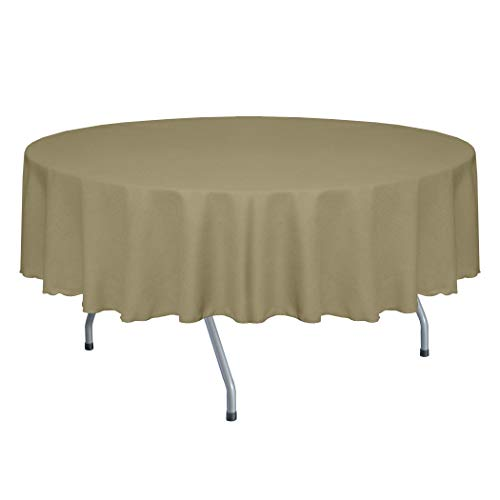 Ultimate Textile -2 Pack- Faux Burlap - Havana 84-Inch Round Tablecloth - Basket Weave, Natural -