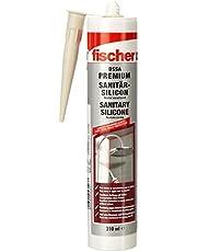fischer Sanitairsiliconen DSSA BG, siliconen voor afdichten en voegen in sanitaire en keuken, patroon voor talrijke toepassingen en bouwmaterialen, 310 ml, beige