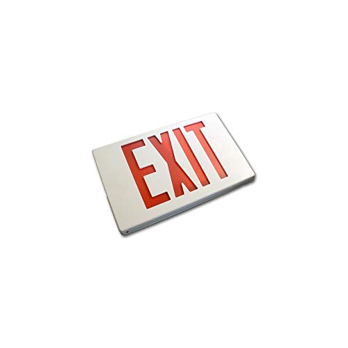 BEST LIGHTING PRODUCTS White Plastic Led Exit Sign With Red Lettering With Battery Back Up model number 9001LEDWR (Lettering Battery Backup)