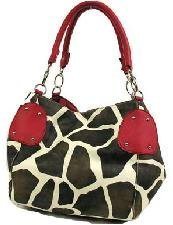Giraffe Hobo Handbag - KENYA - Giraffe Print Hobo Handbag with Double Handles by Eliebags (Hot Pink)