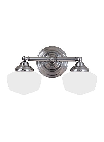 437-962 Academy - Two Light Bath Bar, Brushed Nickel Finish with Satin White Glass (Sea Gull Lighting Bathroom Bulbs)