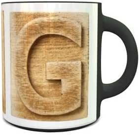 Heat Sensitive Magic Ceramic Mug with Wooden Colored Alphabet G Design 262