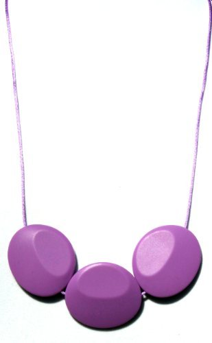 Orchid Tri (Peacemaker Jewelry Tri-Stone Silicone Teething Necklace (Purple Orchid))