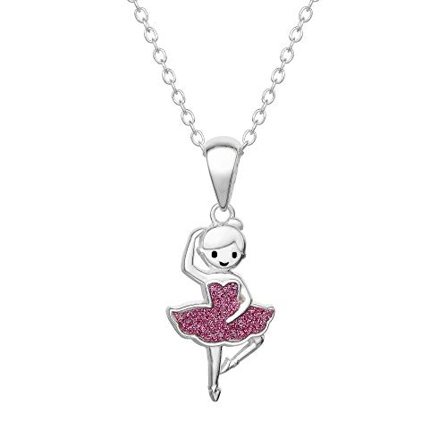 KIDS COLLECTION Jewelry for Girls, Sterling Silver Glitter Ballerina Pendant Necklace, 16