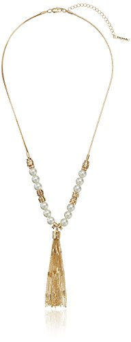 T Tahari Gold White Pearl Tassel Y-Shaped Necklace, 24.5
