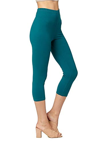 (Conceited Super Soft High Waisted Capri Leggings for Women - Capri Solid - Jade - One Size (0-12))