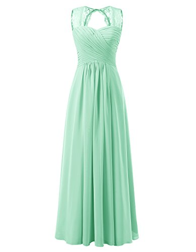 Tideclothes ALAGIRLS Women's Lace Straps Chiffon Bridesmaid Dresses Long Wedding Party Gowns Mint US16
