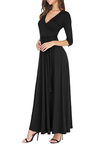 Fit with V Black 4 3 levaca Swing Neck Women's Dress Maxi Sleeve Sexy Flare Belt Wrap BCCqw81O