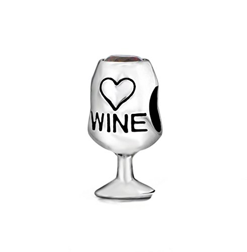 Red Wine Lover Glass Cup Heart Love Crystal Bead 925 Sterling Silver Bead Fits Pandora Charm Bracelet