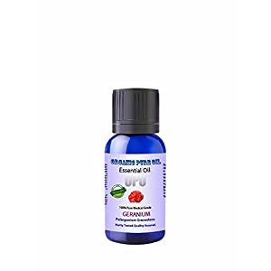 Geranium Essential Oil 10 ML 100% Natural Organic Therapeutic Medi Grade Undiluted Steam Distilled Pharmaceutical Top Grade A For Face Skin Perfume Repellent By Organic Pure Oil